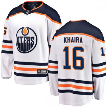 Authentic Fanatics Branded Youth Jujhar Khaira Edmonton Oilers Away Breakaway Jersey - White